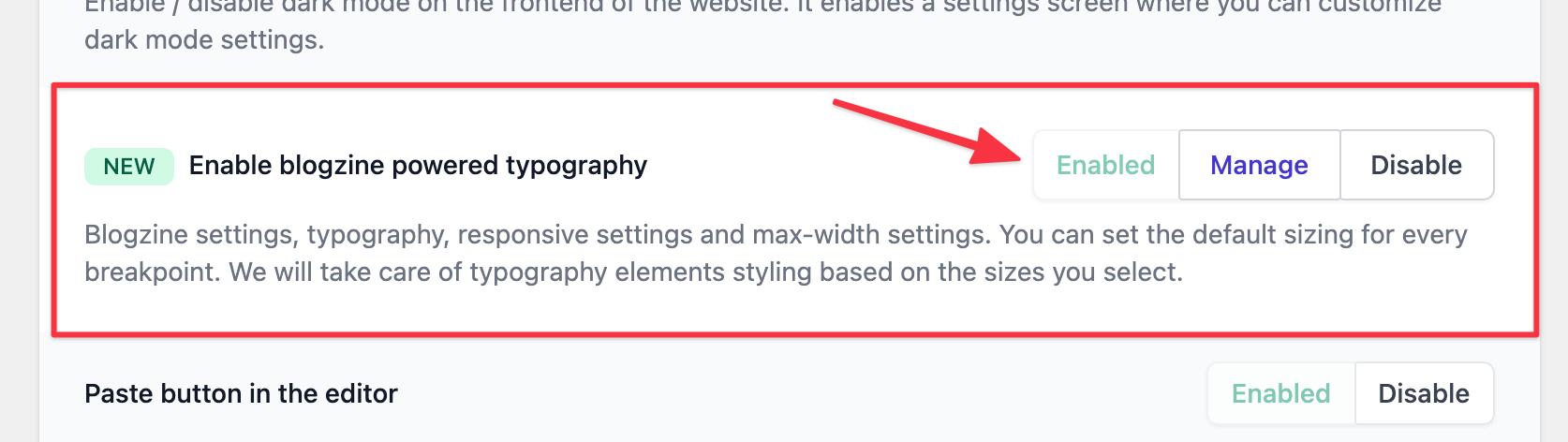 Enable Blogzine powered typography