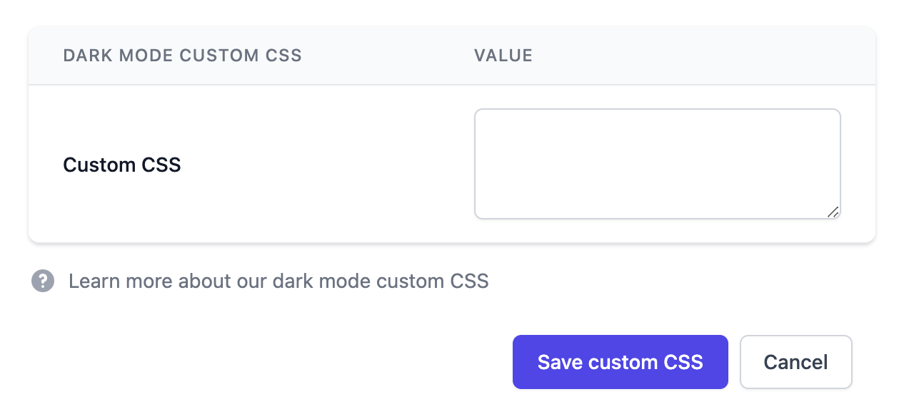 Dark mode custom CSS