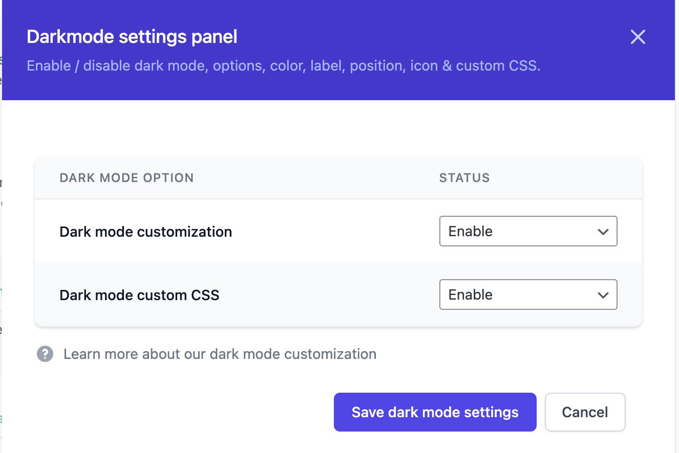 Dark mode modules