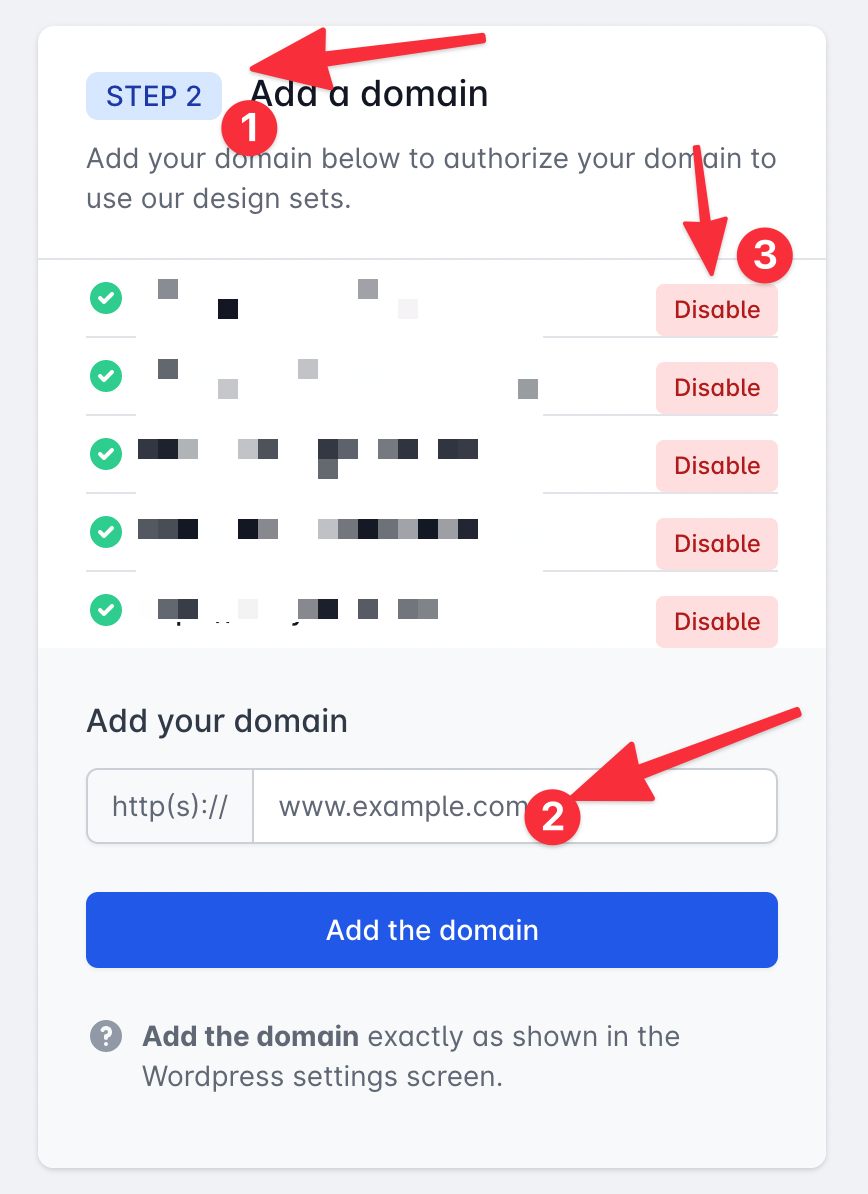 Manage domains in the dashboard