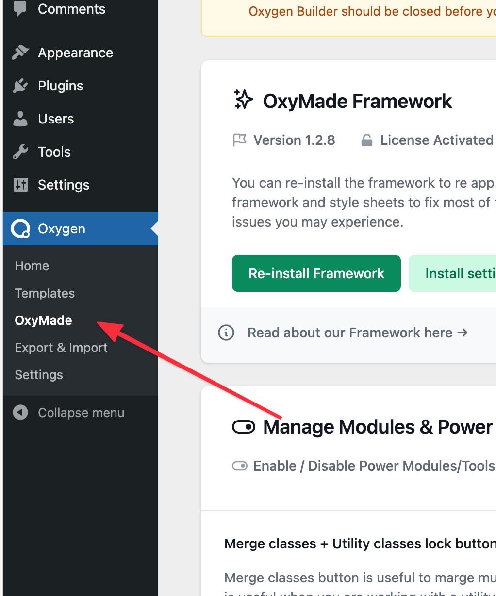 OxyMade Framework Menu