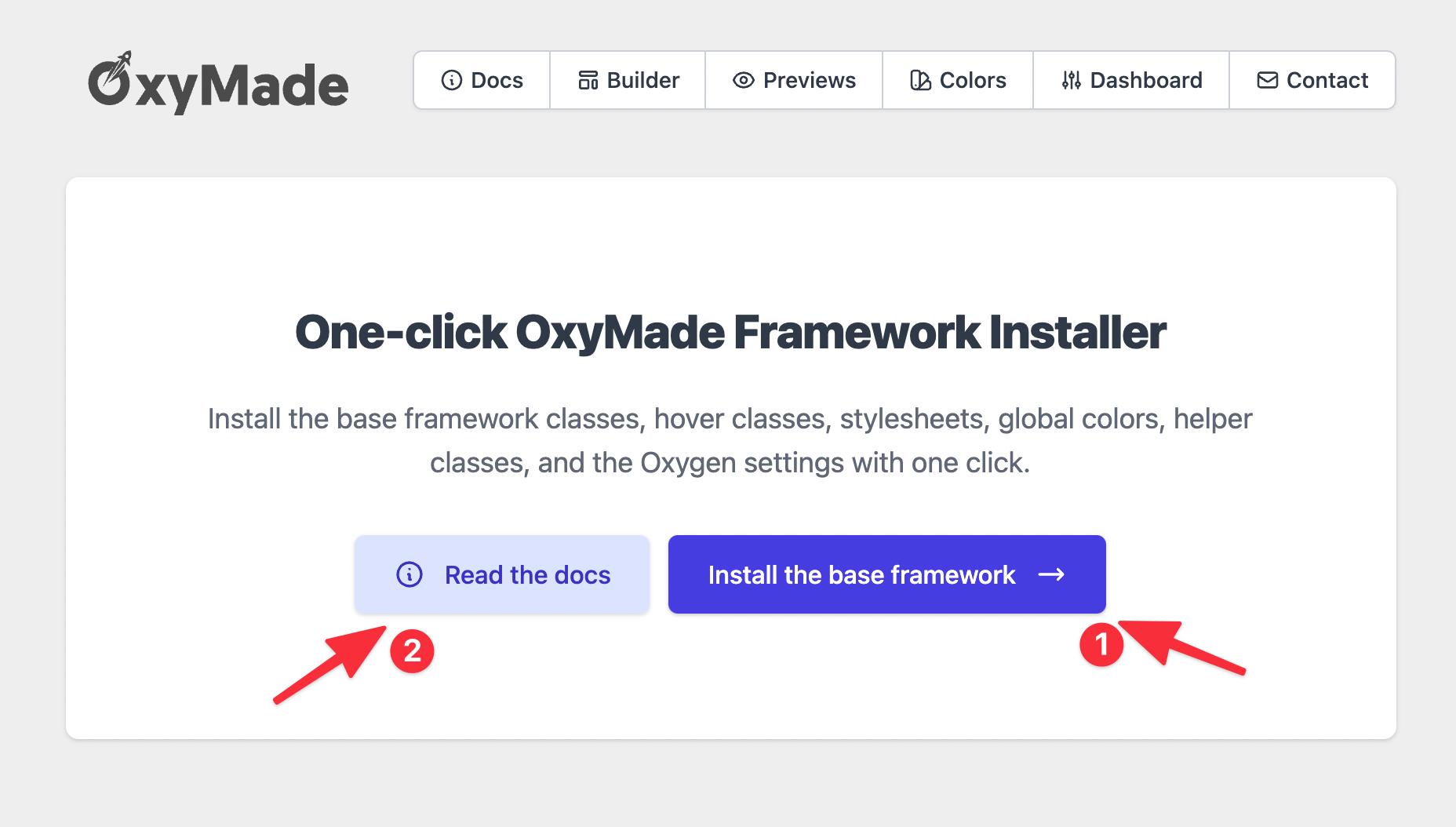 Install the base framework