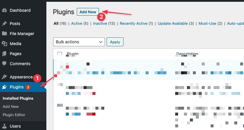 Add new plugin in wordpress admin panel