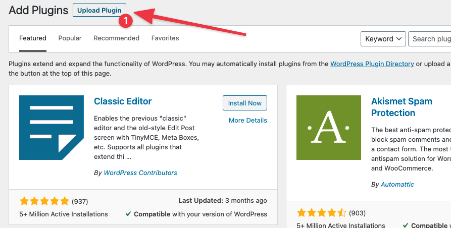 Upload a plugin in wordpress admin panel