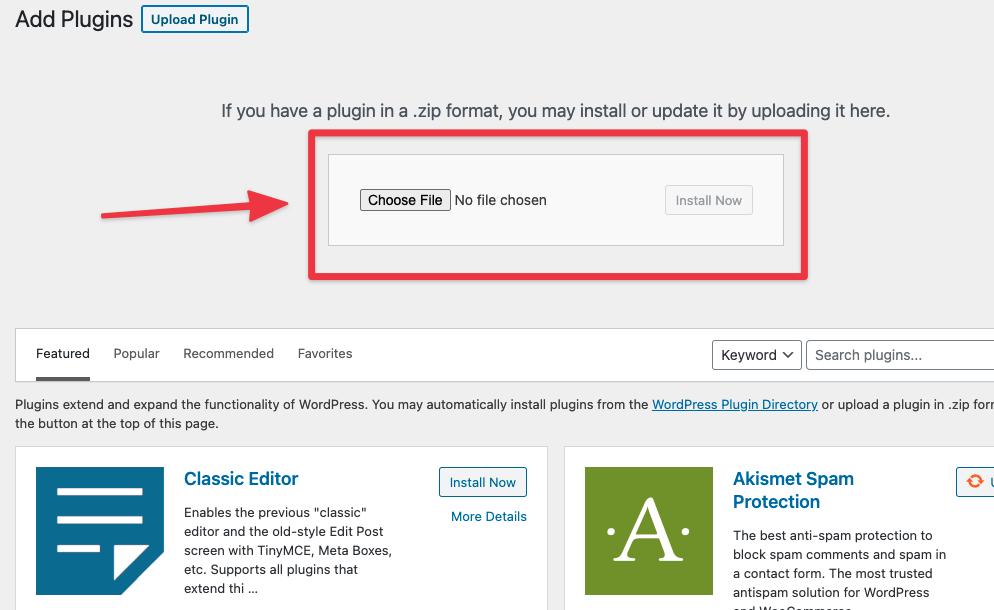 Choose a plugin file to upload