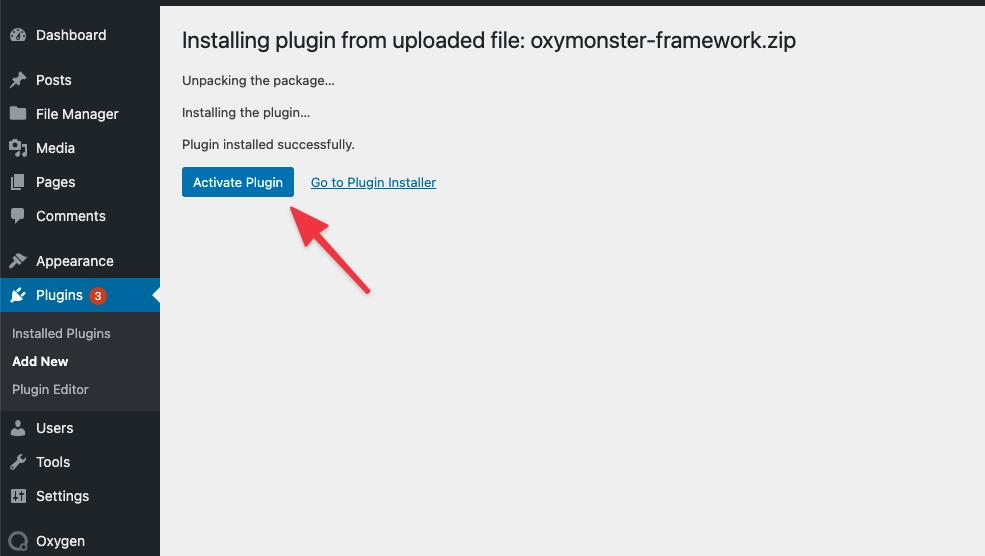 Activating the OxyMade Framework plugin