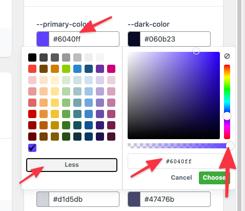 Editing OxyMade colors
