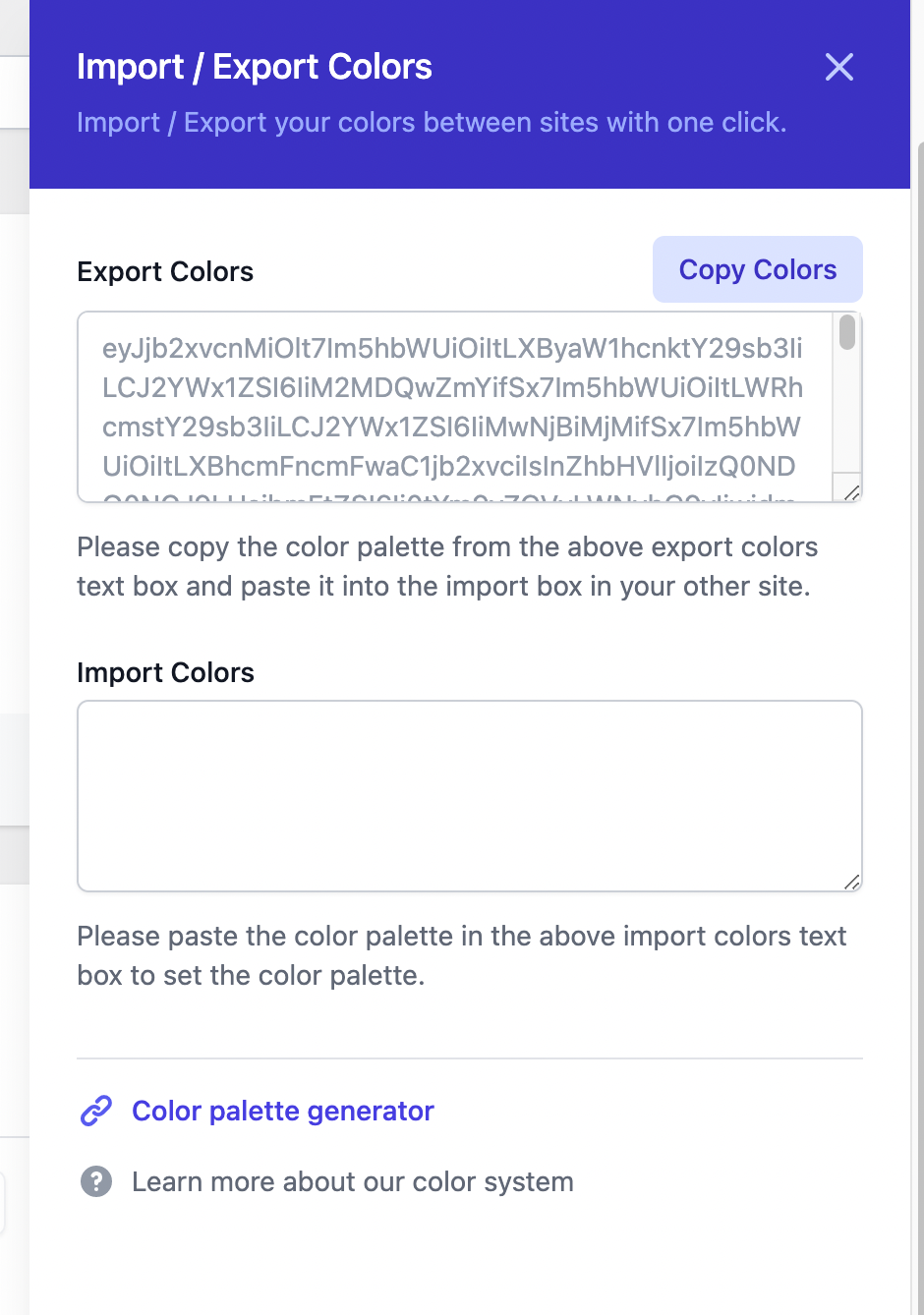 Colors importer in the plugin