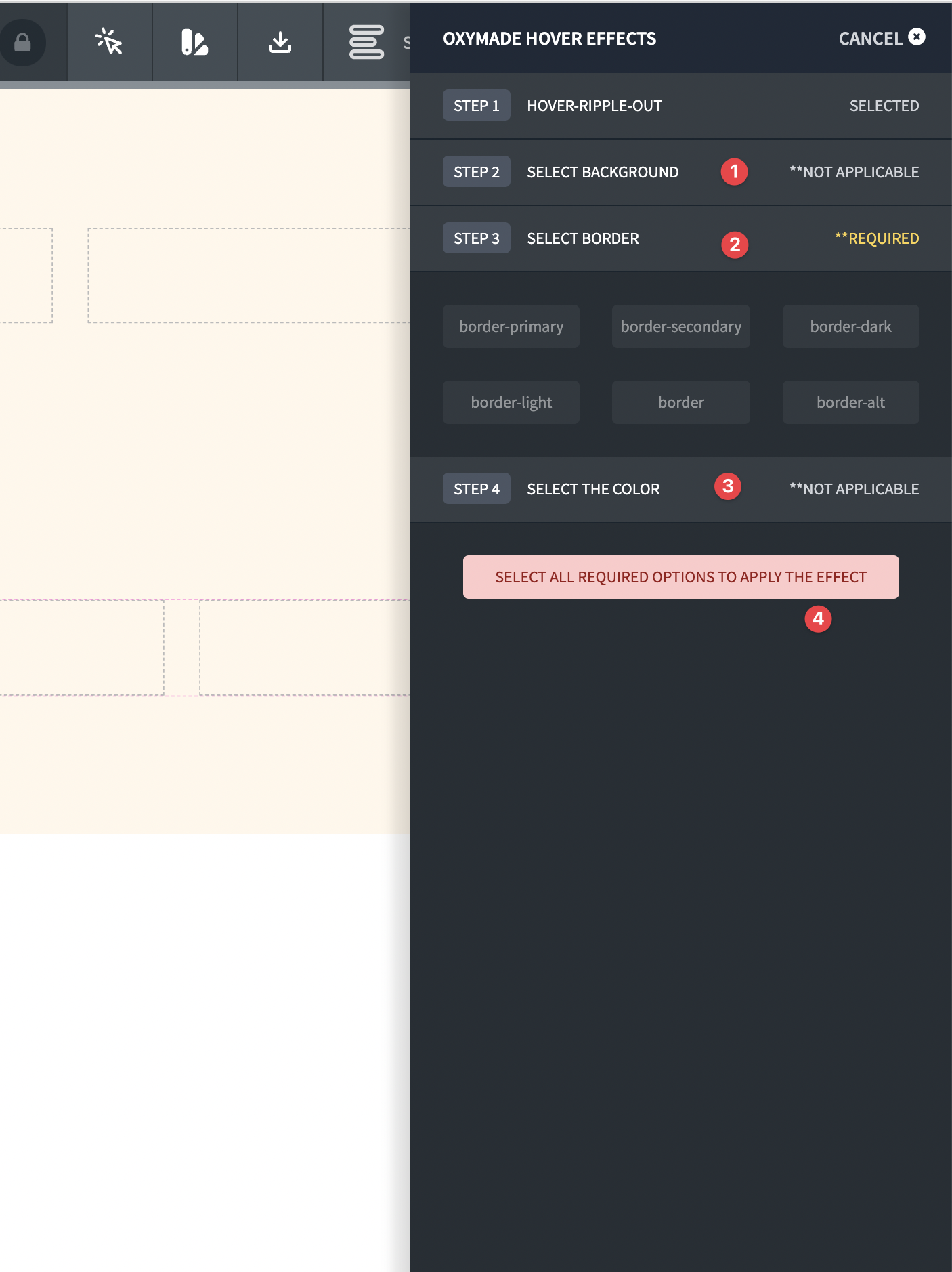 Hover effects selection