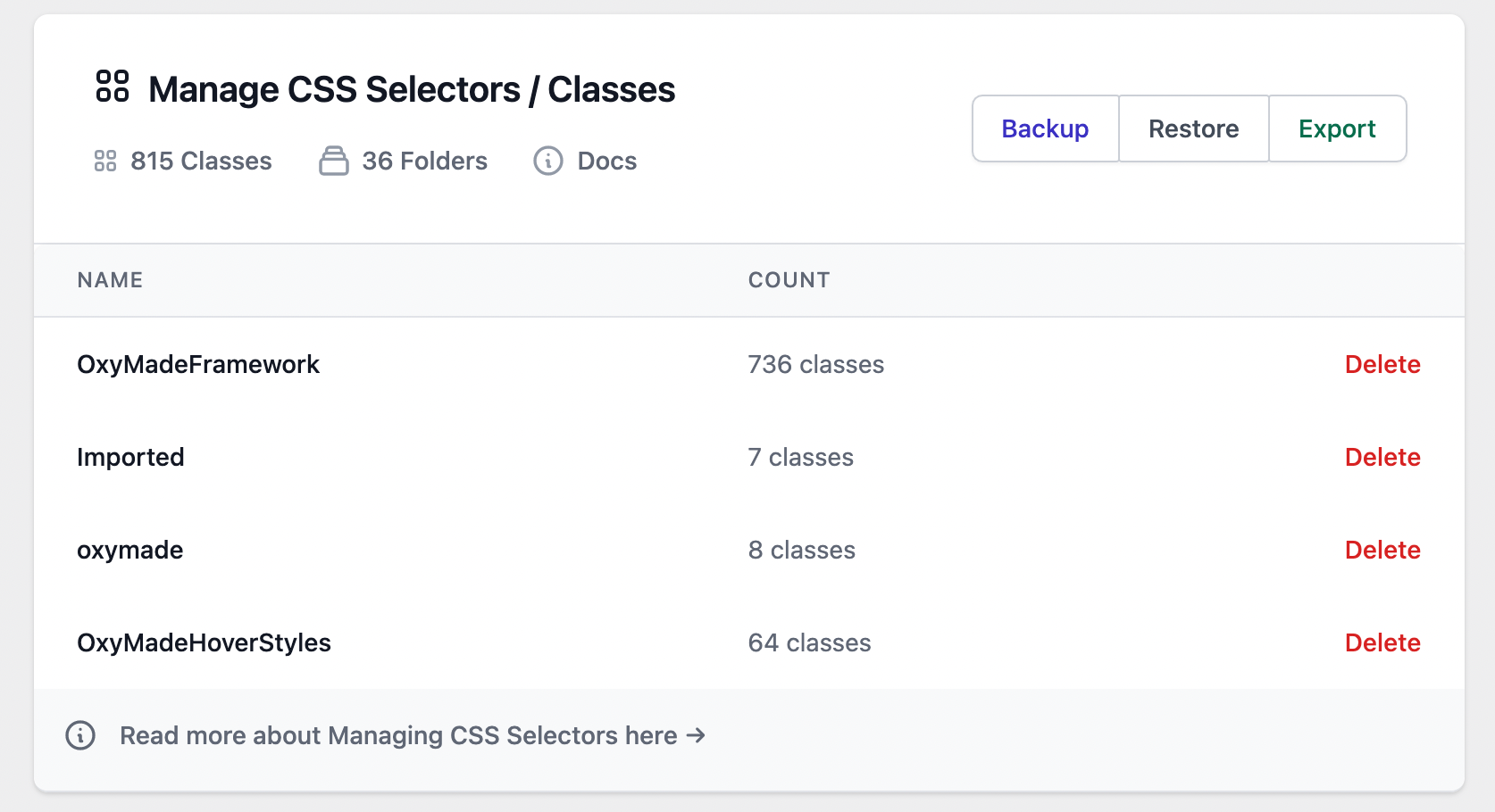 CSS classes browser