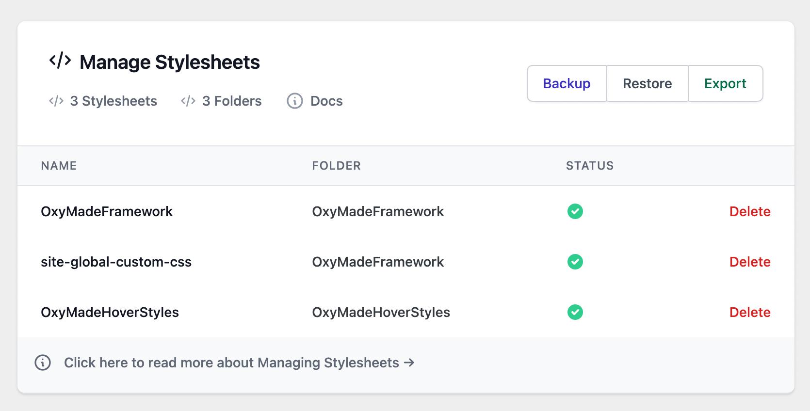 Manage stylesheets