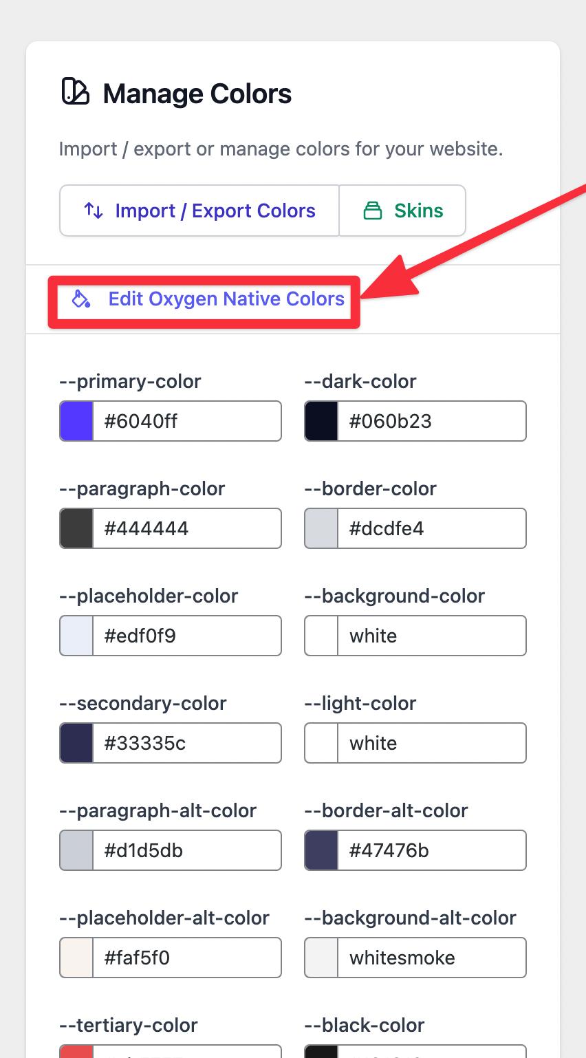 Oxygen native colors editor