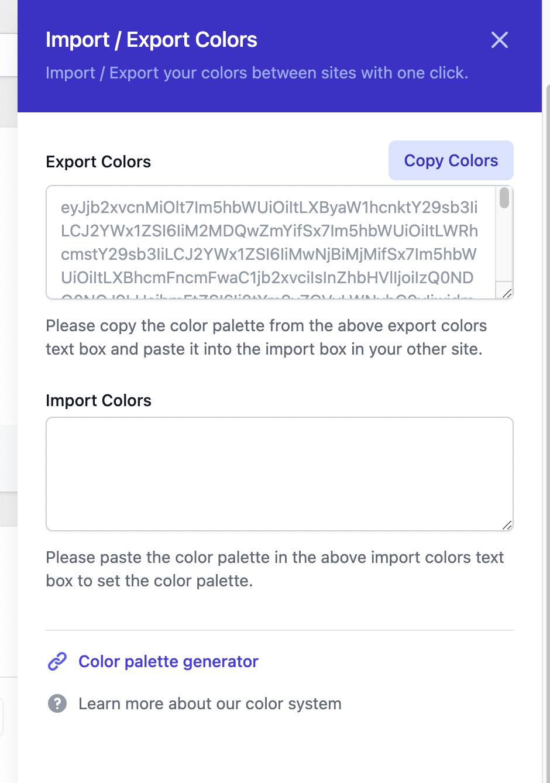 Import / export colors